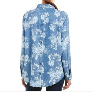 NWT KUT FROM THE KLOTH Floral Chambray Shirt